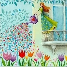 Whimsical lady watering the tulips with hearts, cute painting. Post card designed by Mila Marquis by MarquisWonderland on Etsy Art And Illustration, Art Fantaisiste, Art Mignon, Postcard Design, Naive Art, Whimsical Art, Belle Photo, Cute Art, Illustrators