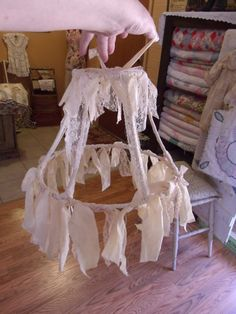 Tattered Repurposed Lamp Shade Romantic by SweetRepeatVintage, $38.00