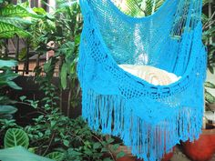 Turquoise Sitting Hammock with Fringe and Loose Threads