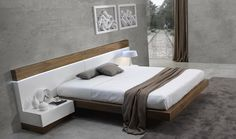 Floating Design Natural Walnut Frame with Extra Wide White Headboard(QUEEN) #Modern
