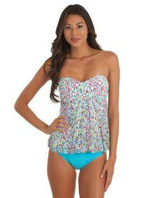 Athena Cocoanut Babydoll Bandini Top and Solid Bikini Bottom