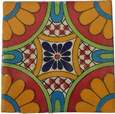 Our patterned decorative Traditional Talavera Tile is a hand-made and hand-painted rustic tile carefully created by craftsman families in Mexico. Mexican Folk Art, Mexican Tiles, Mexican Ceramics, Talavera Pottery, Spanish Tile, Clay Tiles, Ceramic Clay, Mexican Designs, Mediterranean Decor