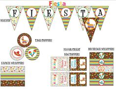 Fiesta Party Package or Cinco de Mayo Printable Package, Mexican Themed Party
