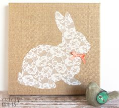 Easter Bunny Craft - No Sew Lace Bunny Canvas