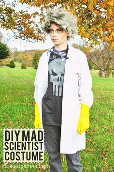 It's hard to find costumes for kids as they get older. Especially boys. This Mad Scientist Costume is made using all purchased supplies. No sewing required. Mad Scientist Halloween Costume, Teen Boy Halloween Costume, Diy Costumes For Boys, Teen Boy Costumes, Handmade Halloween Costumes, Halloween Kostüm, Costume Ideas, Halloween Makeup, Halloween Decorations