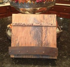 Rustic Reclaimed Kitchen Cook Book Stand IPad Holder Rustic Kitchen Decor Rustic Aged Barrel Ring Ledge