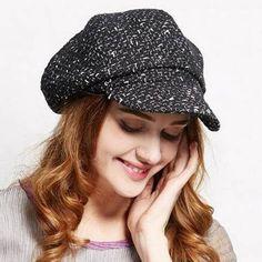 a18d233bd81 Womens black newsboy cap for winter casual wool blend berets hat Newsboy Cap