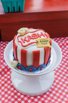 Smash Cake from a Vintage County Fair + Carnival 1st Birthday Party via Kara's Party Ideas | KarasPartyIdeas.com (9)