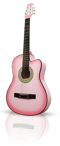 Pink Guitar Acoustic Cutaway