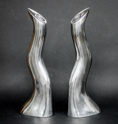 Catawiki online auction house: Anna Everlund – two solid aluminium candle holders