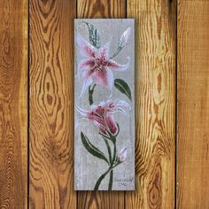 Custom made Portfolio Series Tile Tile. Vertical x Stargazer Lily Tile is Made in Canada and comes with a Lifetime Warranty. Garden Art, Outdoor Decor, Pink Home Decor, Flower Tile, Commercial Flooring, Barn Wood, Original Work, Tile Art, Reclaimed Barn Wood