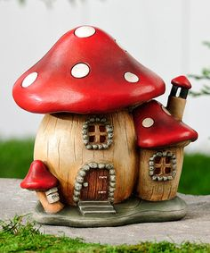 Mini Light-Up Mushroom House Garden Décor