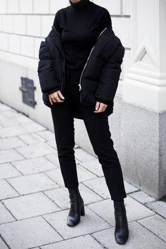 Jacket: tumblr black down puffer black turtleneck top black top turtleneck pants black pants cropped