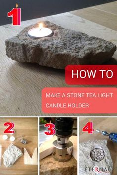How to make a stone tea light candle holder in 4 easy steps. You will need a diamond core drill (held in a rotary drill), a diamond core drill held in your Dremel and a large diamond cylinder burr, also held in your Dremel. All the tools Diy Candles, Tea Light Candles, Tea Lights, Yankee Candles, Beeswax Candles, Stone Crafts, Rock Crafts, Support Bougie, Dremel Tool Projects