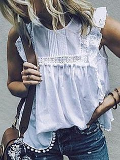 White Round Neck Sleeveless Lace Shirt · Fashion designer · Online Store Powered by Storenvy Casual Summer Outfits For Women, Cool Outfits, Fashion Outfits, Zara Fashion, Casual Wear, Plus Size Womens Clothing, Plus Size Fashion, Camisole, Short Sleeve Blouse