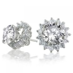 Get off now on Bling Jewelry 925 Sterling Silver CZ Round Removable Flower Petal Jacket Stud Earrings White Gold Diamond Earrings, Sapphire Earrings, Gemstone Earrings, Women's Earrings, Diamond Jewelry, Silver Earrings, Bling Jewelry, Jewelry Bracelets, Jewelry Trends