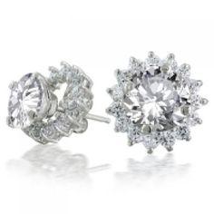 Round CZ Stud Earrings w Removable Jacket Flower Petal Ring