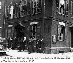 Visiting nurses leaving the Visiting Nurse Society of Philadelphia office for daily rounds, c.1930. Image courtesy of the Barbara Bates Center for the Study of the History of Nursing.