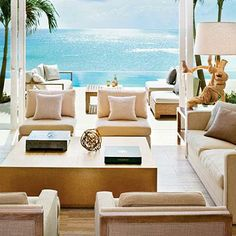 A neutral living room can go a long way toward showing off a great water view. The beautiful Viceroy Anguilla resort offers a good lesson in combining natural elements—such as the driftwood lamp—with chic interiors. Coastalliving.com