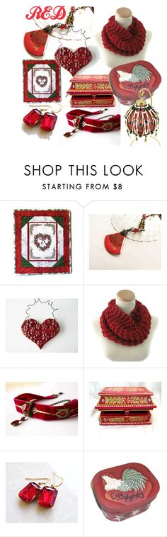 """""""Red"""" by clschmauder ❤ liked on Polyvore featuring interior, interiors, interior design, home, home decor, interior decorating, Home, jewelry, women and ornaments"""