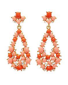 Kenneth Jay Lane Resin & Crystal Drop Earrings