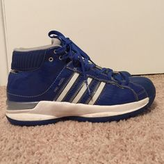 Blue Adidas High Tops! Women's size 7. Royal blue and white Adidas high tops! In great condition. Size 7 women's. Great for basketball or just for fun! 8/10 condition. Make me an offer! Adidas Shoes Athletic Shoes