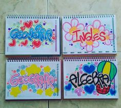 Esto es para que si no encuentras portadas que hacer te des unanidea School Notebooks, Decorate Notebook, Coloring Sheets, School Projects, Art School, Diy For Kids, Creative Design, Art Drawings, Stencils