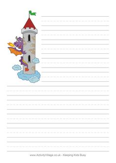 Dragon tower writing paper