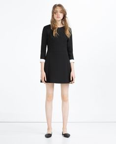 SHORT DRESS WITH WHITE CUFFS-View All-DRESSES-WOMAN | ZARA United States