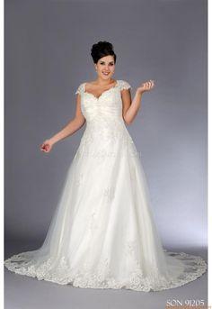 V-neck A-linie Romantisch Preiswerte Brautkleider 2014 aus Softnetz