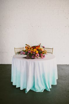 ombre linens and bright florals Photography + Creative Direction by Paige Jones… Reception Decorations, Table Decorations, Decoration Inspiration, Wedding Inspiration, Style Inspiration, Wedding Linens, Diy Wedding Flowers, Watercolor Invitations, Sweetheart Table