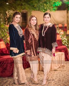Image may contain: 3 people, people standing Pakistani Party Wear Dresses, Shadi Dresses, Pakistani Wedding Outfits, Indian Party Wear, Pakistani Dress Design, Velvet Pakistani Dress, Indian Outfits, Velvet Dress Designs, Pakistani Fashion Casual