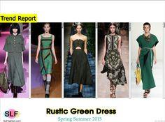Rustic Green DressTrend for Spring Summer 2015. Marc Jacobs, Prada, Erdem, Valentino, and Marni Spring Summer 2015. #Fashion #SS2015 #SS15