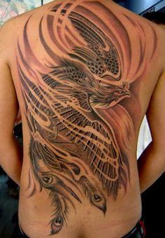 29 Phoenix tattoo - New Tattoo Trend Spine Tattoo For Men, Phoenix Tattoo For Men, Phoenix Bird Tattoos, Phoenix Tattoo Design, Back Tattoo Women, Spine Tattoos, Tribal Back Tattoos, Bird Tattoo Back, Full Back Tattoos