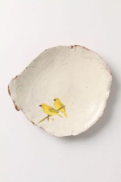 Yellow Birds - going on one of my plates Ceramic Clay, Ceramic Plates, Ceramic Pottery, Clay Plates, Ceramic Birds, Pottery Plates, Cerámica Ideas, Sculptures Céramiques, Bird Sculpture
