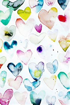Watercolour heart print