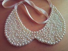 Ivory Pearl Peter Pan Collar Necklace by SawuCreations on Etsy, $20.00