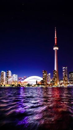 Toronto Lake Canada City Night View #iPhone #7 #wallpaper