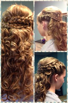 Hair by Stormie Kaney for Solange Salon. Special occasion hairstyle. Event styling. Blonde hair. Long hair. Curled hair. Double braids. Half up.
