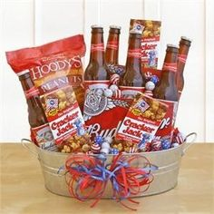 """gift basket for him teacher appreciation gift Consider making a """"gift basket"""" that suits each member of your wedding party's interests, from... Fathers Day Baskets, Gift Baskets For Him, Wine Gift Baskets, Basket Gift, Fundraiser Baskets, Raffle Baskets, Theme Baskets, Food Baskets, Beer Basket"""