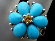 Turquoise Citrine Sterling Silver Ring Size 6 Gemstone Signed ea QVC 925 Flower | eBay