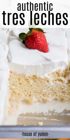 Tres leches cake This easy to make tender cake is drenched in a three milk mixture topped with fluffy whipped cream and can be topped with a sprinkle of cinnamon or fresh fruit for a truly authentic Mexican dessert cakerecipes tresleches Party Desserts, Just Desserts, Delicious Desserts, Yummy Food, Easter Desserts, Tasty, Authentic Mexican Desserts, Mexican Dessert Recipes, Traditional Mexican Desserts