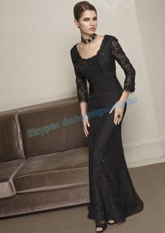 2013 Style Of Graceful Black Sexy Mother Of The Bride Dress With Lace With Three-Quarters Sleeve Fall Dresses, Bridal Dresses, Prom Dresses, Long Dresses, Bridesmaid Dress, Long Sleeve Evening Dresses, Evening Gowns, Evening Party, Mori Lee Dresses