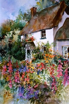 English Summer Cottage Art Print by Sherri Crabtree. All prints are professionally printed, packaged, and shipped within 3 - 4 business days. Choose from multiple sizes and hundreds of frame and mat options. Watercolor Landscape Paintings, Watercolor Flowers, Watercolor Paintings, Watercolour, Garden Painting, House Painting, English Summer, Cottage In The Woods, Cozy Cottage