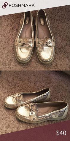 Gold sperry slip-ons Gold speedy slip on shoes. Worn once. Condition 10/10. Size 7. They are so cute for them as a gift but they don't fit me. Sperry Top-Sider Shoes Flats & Loafers
