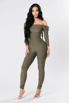 f0aa165d0d86 Available in Black and Olive Off Shoulder Jumpsuit Straight Leg Lace Up Sleeves  Sleeves Polyester Spandex