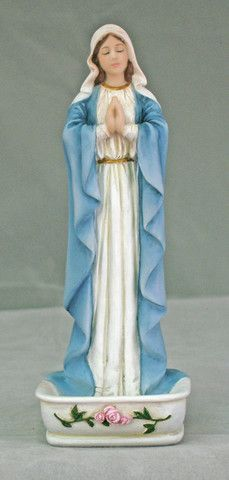 Madonna Our Lady of Grace Rosary Holder or Water Font With Roses – Beattitudes Religious Gifts