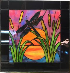 PANEL - Stained Glass Dragonfly at Sunset with cattails - laca Dragonfly Stained Glass, Stained Glass Door, Stained Glass Panels, Stained Glass Projects, Dragonfly Painting, Stained Glass Patterns Free, Stained Glass Designs, Mosaic Art, Mosaic Glass