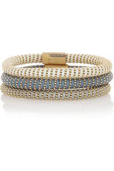 Carolina Bucci Set de trois bracelets en argent plaqué or et soie Twister NET-A-PORTER.COM