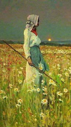 """""""A Girl In A Meadow"""" ... by William Page Atkinson 1905"""